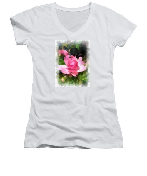 Women's V-Neck T-Shirt (Junior Cut) featuring the photograph The Rose by Kerri Farley