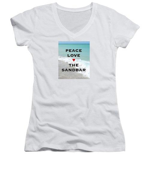 Women's V-Neck T-Shirt (Junior Cut) featuring the photograph The Sandbar Restaurant Anna Maria Island by Margie Amberge