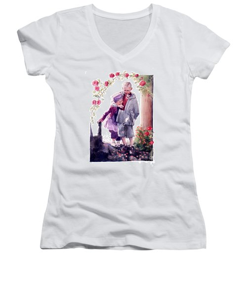 Watercolor Of A Boy And Girl In Their Secret Garden Women's V-Neck (Athletic Fit)