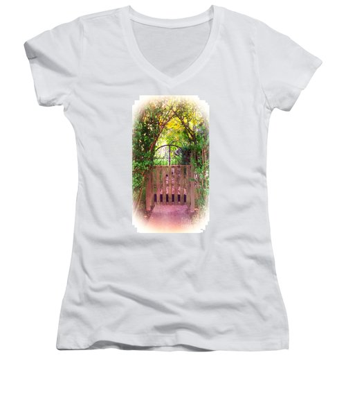 The Secret Gardens Gate Women's V-Neck (Athletic Fit)