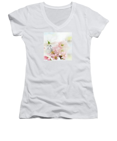 The Silent World Of A Butterfly Women's V-Neck T-Shirt (Junior Cut) by Morag Bates
