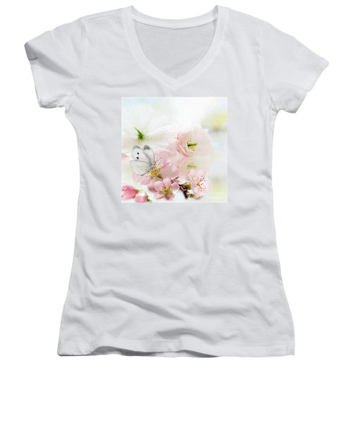 The Silent World Of A Butterfly Women's V-Neck