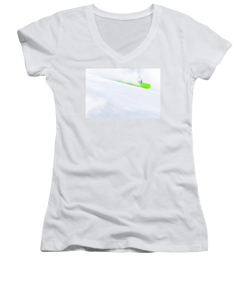 The Snowboarder And The Snow Women's V-Neck T-Shirt