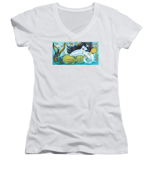 The Song Of The Mermaid Women's V-Neck T-Shirt (Junior Cut)