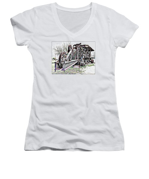 Women's V-Neck T-Shirt (Junior Cut) featuring the photograph The Steam Shovel by Glenn McCarthy Art and Photography