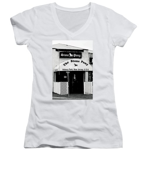 The Stone Pony Asbury Park Nj Women's V-Neck T-Shirt (Junior Cut) by Terry DeLuco