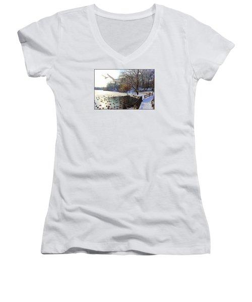 The End Of The Storm Women's V-Neck T-Shirt (Junior Cut) by Dora Sofia Caputo Photographic Art and Design