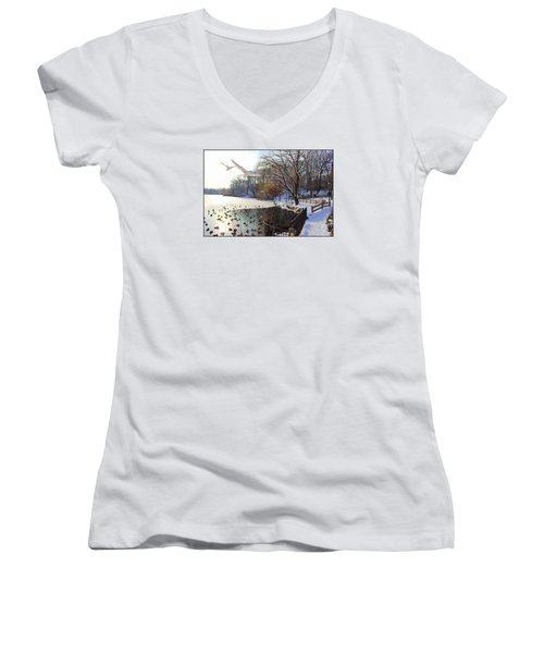 The End Of The Storm Women's V-Neck T-Shirt (Junior Cut)
