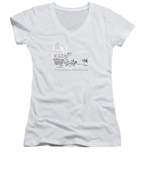 The Summer People Are Coming!  The Summer People Women's V-Neck