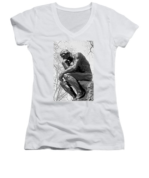 The Thinker In Black And White Women's V-Neck T-Shirt (Junior Cut) by Lisa Phillips