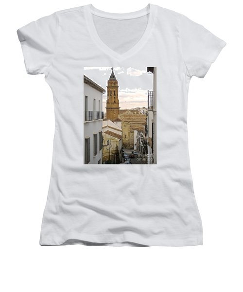 Women's V-Neck T-Shirt (Junior Cut) featuring the photograph The Town Tower by Suzanne Oesterling