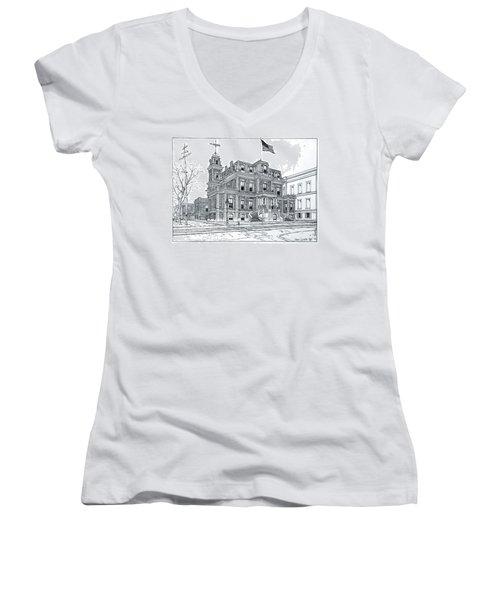 The Union League Philadelphia 1867 Women's V-Neck T-Shirt (Junior Cut) by Ira Shander