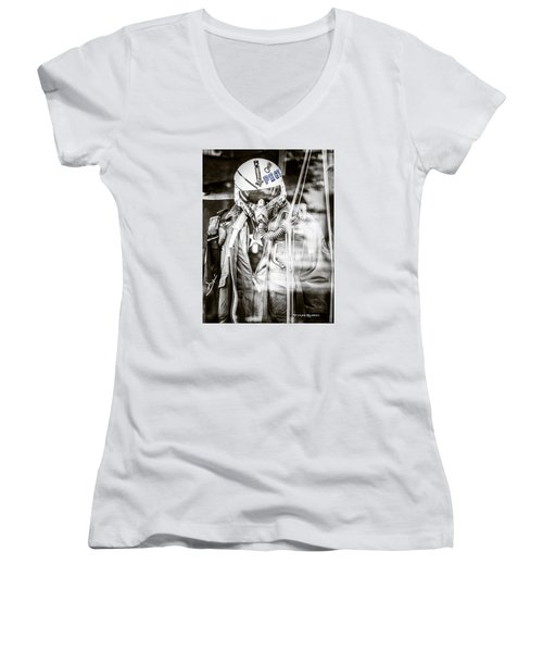 Women's V-Neck featuring the photograph The U.s Airman by Stwayne Keubrick