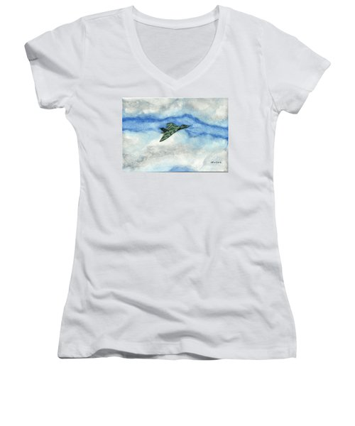 Women's V-Neck T-Shirt (Junior Cut) featuring the painting The Vulcan Bomber by John Williams