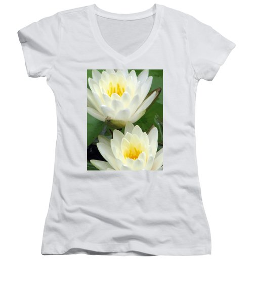 Women's V-Neck T-Shirt (Junior Cut) featuring the photograph The Water Lilies Collection - 09 by Pamela Critchlow