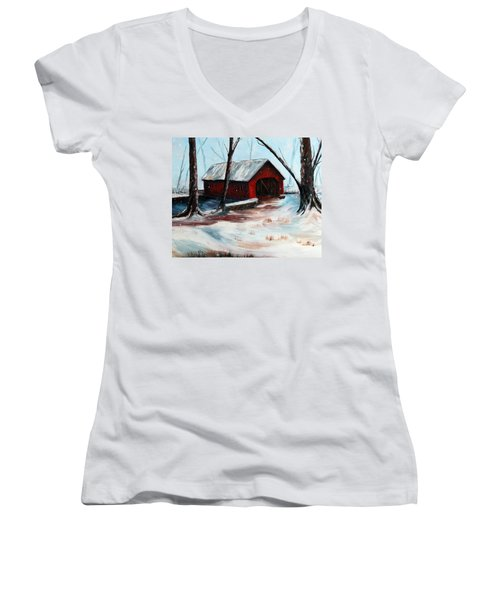 Women's V-Neck T-Shirt (Junior Cut) featuring the painting The Way Home by Meaghan Troup