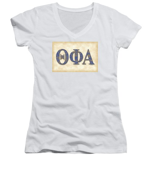 Theta Phi Alpha - Parchment Women's V-Neck T-Shirt (Junior Cut) by Stephen Younts
