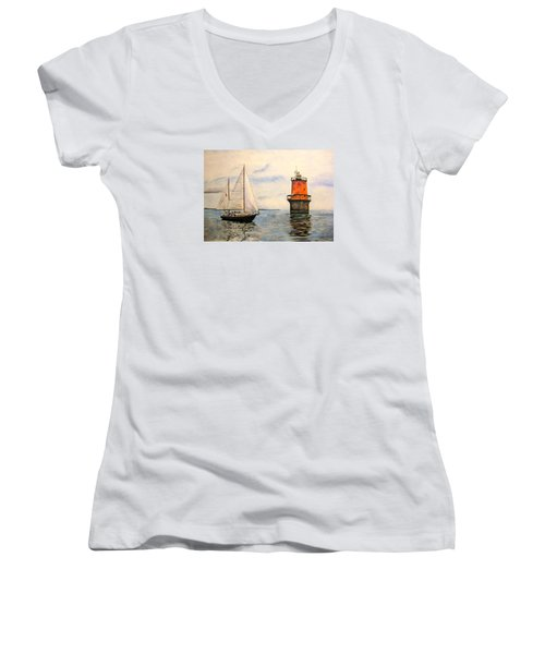 Thimble Shoals Light Women's V-Neck T-Shirt (Junior Cut) by Stan Tenney