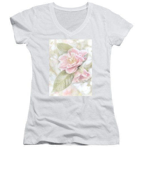 Think Pink Women's V-Neck T-Shirt (Junior Cut) by Peggy Hughes