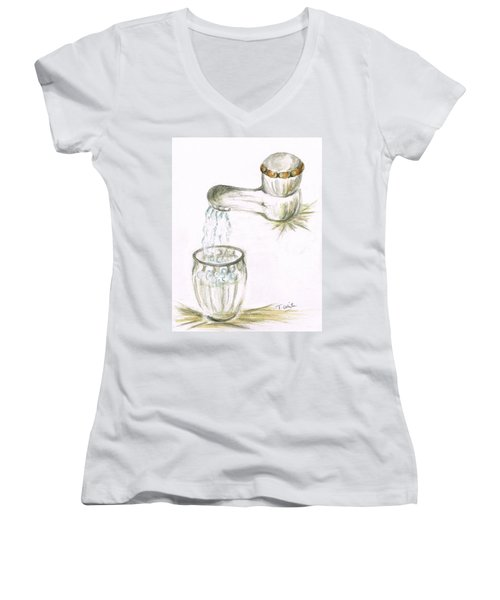 Women's V-Neck T-Shirt (Junior Cut) featuring the painting Thirsty Of Water by Teresa White