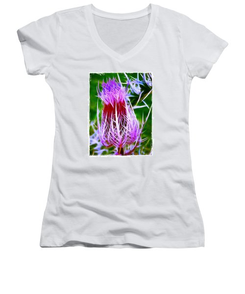 Women's V-Neck T-Shirt (Junior Cut) featuring the photograph Thistle by Judi Bagwell