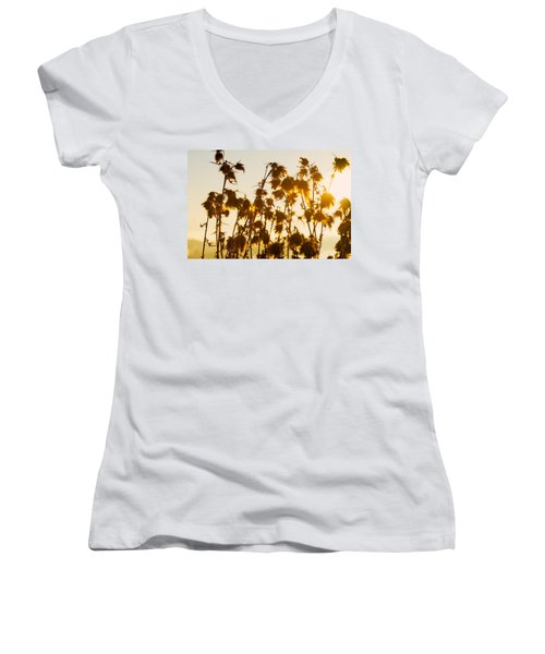 Women's V-Neck T-Shirt (Junior Cut) featuring the photograph Thistles In The Sunset by Chevy Fleet