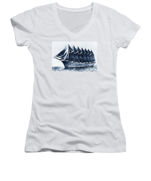 Thomas W. Lawson Seven-masted Schooner 1902 Women's V-Neck (Athletic Fit)