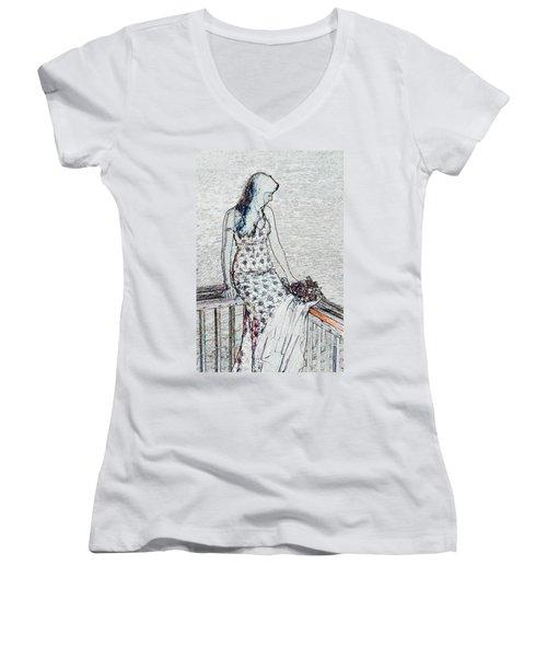 Thoughtful Women's V-Neck T-Shirt (Junior Cut) by Leticia Latocki