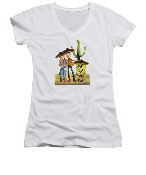 Women's V-Neck T-Shirt (Junior Cut) featuring the painting Three Amigos by Ferrel Cordle