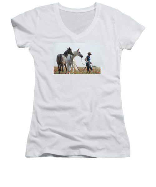 Three At The Poppies' Field... 1 Women's V-Neck