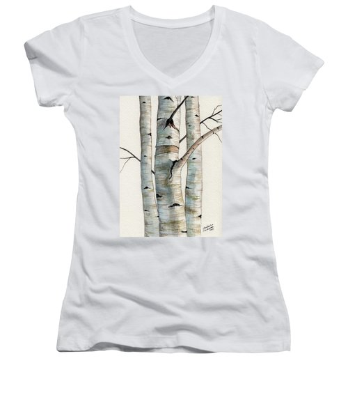 Three Birch Trees Women's V-Neck (Athletic Fit)