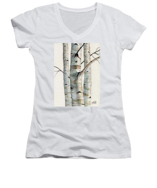 Three Birch Trees Women's V-Neck T-Shirt