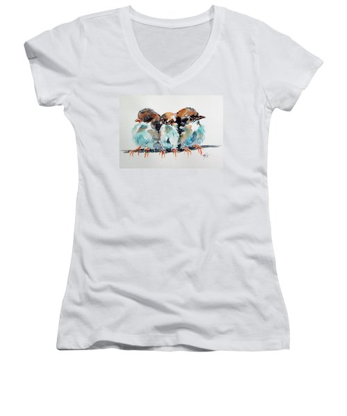 Three Birds Women's V-Neck T-Shirt (Junior Cut)