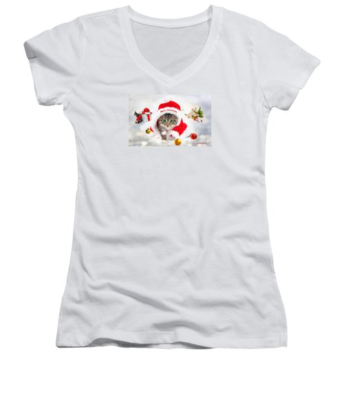 Three Christmas Kittens Women's V-Neck T-Shirt (Junior Cut) by Chris Armytage