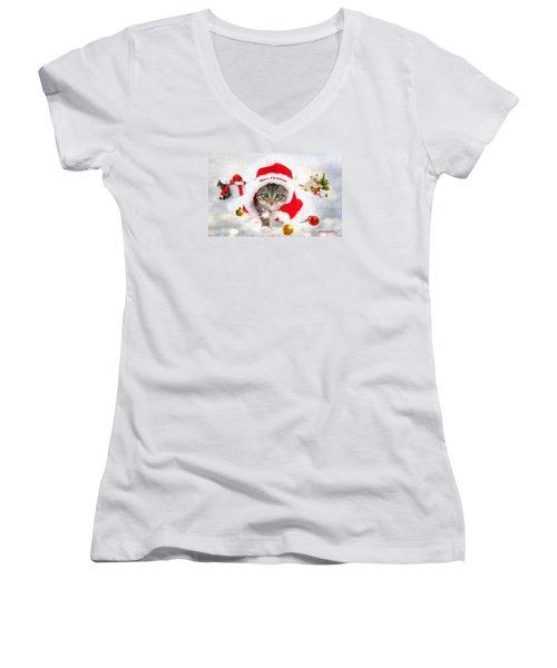 Three Christmas Kittens Women's V-Neck T-Shirt