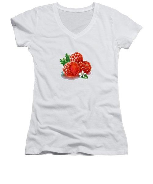 Three Happy Raspberries Women's V-Neck T-Shirt (Junior Cut) by Irina Sztukowski