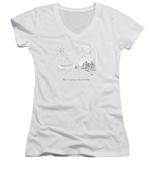 Three Men On Camels Look At The Night Sky.  One Women's V-Neck