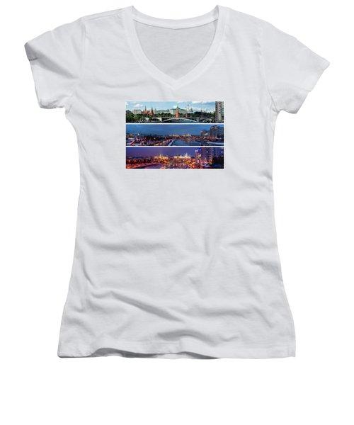Three Panoramas Of Moscow Kremlin - Featured 3 Women's V-Neck T-Shirt (Junior Cut) by Alexander Senin