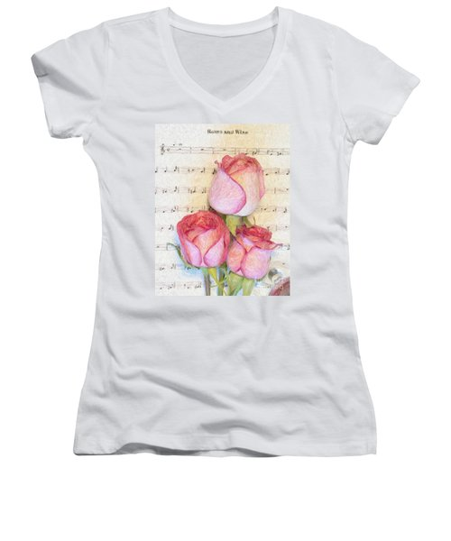 Three Red Roses And Wine 2 Women's V-Neck (Athletic Fit)