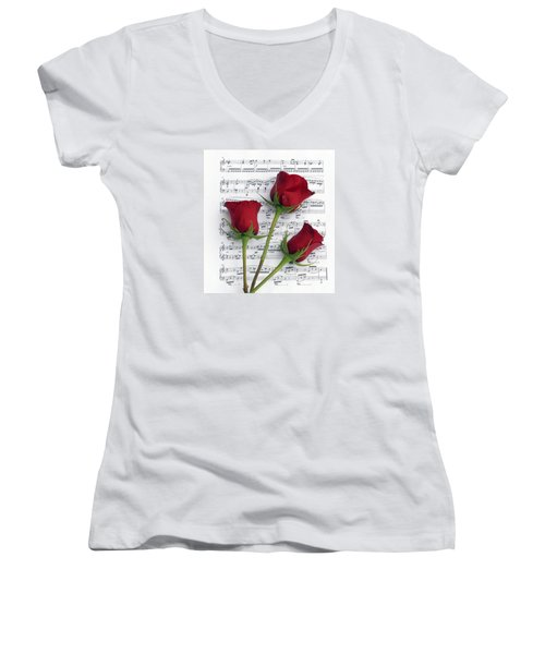 Three Rose Music Women's V-Neck (Athletic Fit)