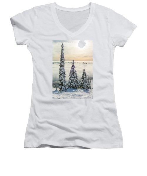 Three Wise Men Women's V-Neck T-Shirt (Junior Cut) by Aaron Aldrich