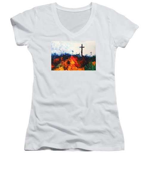 Three Wooden Crosses Women's V-Neck (Athletic Fit)