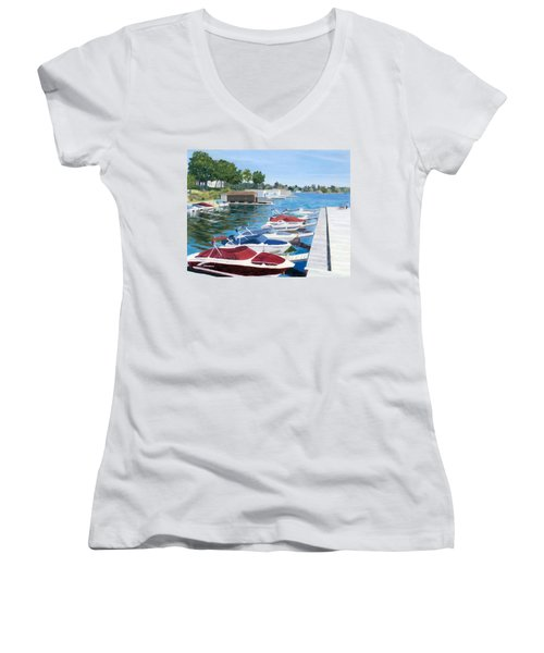 Women's V-Neck T-Shirt (Junior Cut) featuring the painting T.i. Park Marina by Lynne Reichhart