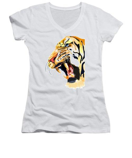 Tiger Roar Women's V-Neck (Athletic Fit)