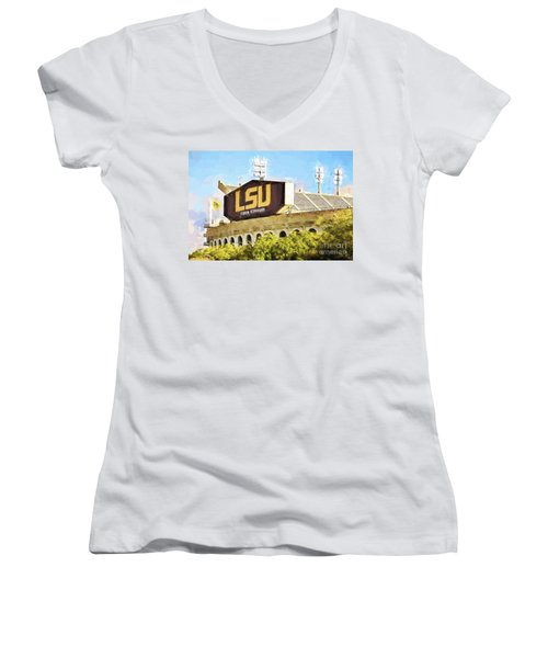 Tiger Stadium Women's V-Neck T-Shirt (Junior Cut) by Scott Pellegrin
