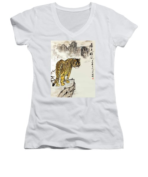 Women's V-Neck T-Shirt (Junior Cut) featuring the painting Tiger by Yufeng Wang