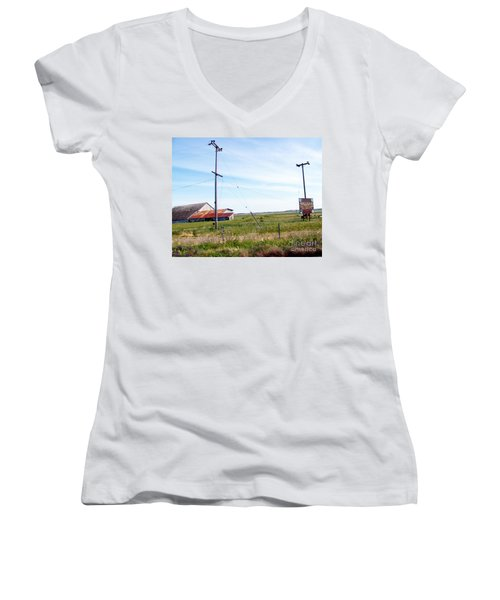 Women's V-Neck T-Shirt (Junior Cut) featuring the photograph Time Passed By by Bobbee Rickard