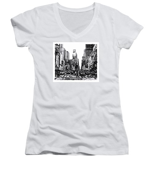 Times Square   New York City Women's V-Neck T-Shirt (Junior Cut) by Iconic Images Art Gallery David Pucciarelli