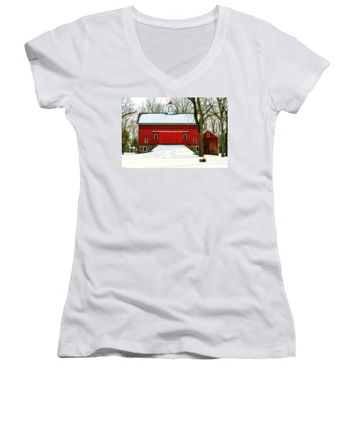 Women's V-Neck T-Shirt (Junior Cut) featuring the photograph Tinicum Barn In Winter II by Debra Fedchin
