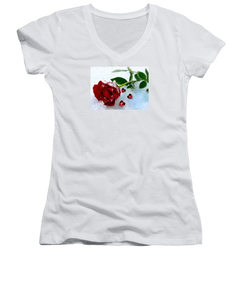 To Make You Feel My Love Women's V-Neck T-Shirt (Junior Cut) by Morag Bates
